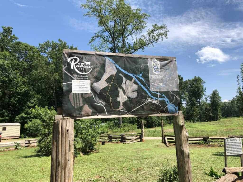 hiking and road map of Reverence Farms